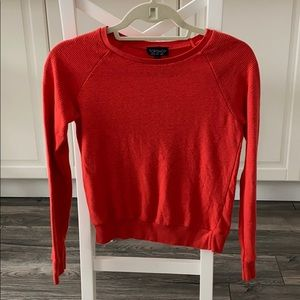 Red ribbed long sleeve